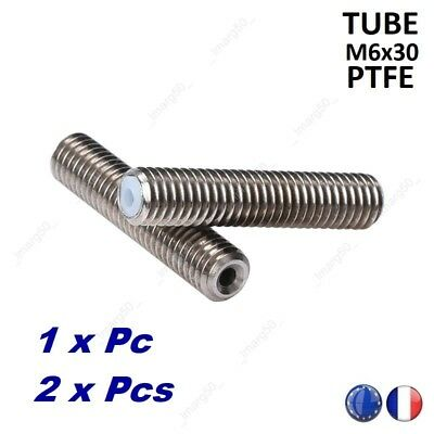 M6X30 Extruder Accessory 1.75MM Thread Nozzle Throat With Teflon For 3D Printer