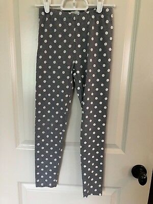 Crewcuts Grey Leggings with White Polka Dots Size 10