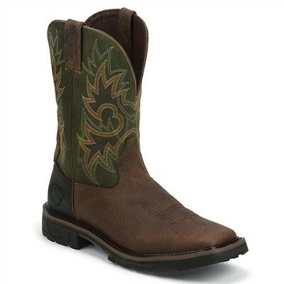 Mens Justin Rustic Barnwood Composite Toe Boots Work Horse Riding Stock Cattle