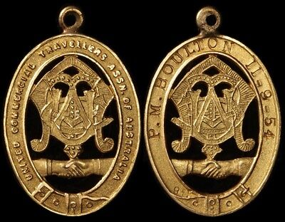 AUSTRALIA 1954 United Commercial Travellers Assn of Australia. 9ct gold fob.