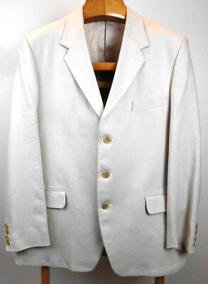 Vintage Cordings of Piccadilly White Irish Linen Suit Size 42
