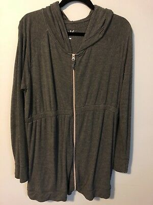 Isabel Maternity Long Zippered Cozy Hoodie L/S Sweatshirt Charcoal Gray Large L
