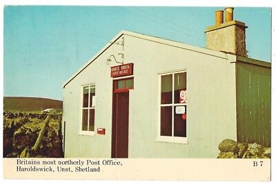 SHETLAND Post Office, Haroldswick, Unst, Old Postcard Postally Used 1981