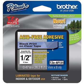 """Brother TZeAF131 1/2"""" (12mm) Acid Free Adhesive P-touch Tape PT1010, PT-1010"""