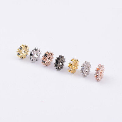 Rhinestone CZ Micro Pave Rondelle Bracelet Connector Spacer Beads Rose Gold 8MM