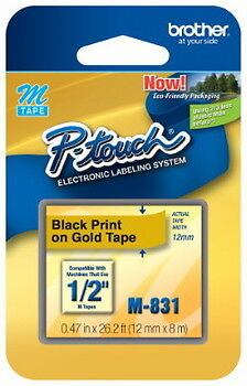 """NEW Brother M831 P-Touch Label Tape 1/2"""" Black on Gold (12mm) Ptouch M-831"""