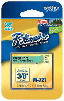 "NEW Brother M721 P-Touch Label Tape 3/8"" Black on Green (9mm) Ptouch M-721"