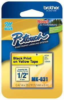 """NEW Brother MK631 P-touch Label Tape 1/2"""" Black on Yellow (12mm) Ptouch MK-631"""