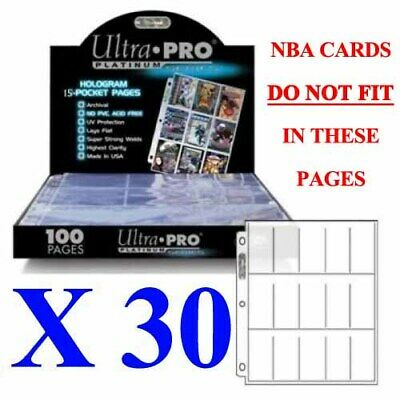 Ultra Pro 15 Pocket Platinum Series Tobacco Cigarette Cards Sleeves X 30 Pages