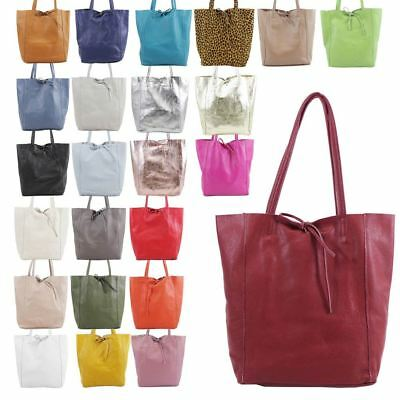 New Ladies Real Leather Tie Knot Closure Large Plain Casual Shopper Bag