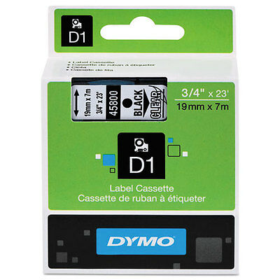 Dymo 45800 D1 Label Printer Tape 3/4 Black on Clear LabelManager LM 18mm, 18 mm