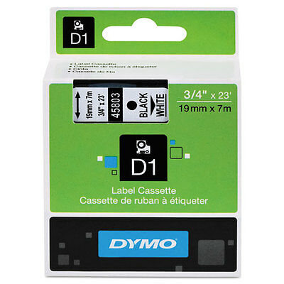 Dymo 45803 D1 Label Printer Tape 3/4 Black on White LabelManager LM 18mm, 18 mm
