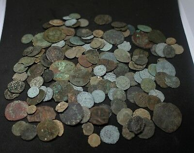 Metal detecting finds 138 Roman Coins uncleaned unresearched