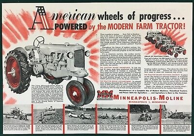 1952 MINNEAPOLIS-MOLINE MODEL R TRACTOR - PATRIOTIC Large Centerfold Ad