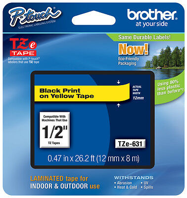 "Brother 1/2"" (12mm) Black on Yellow P-touch Tape for PT2430PC, PT-2430PC Printer"