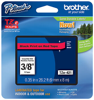 """Brother 3/8"""" (9mm) Black on Red P-touch Tape for PTD600, PT-D600 Label Maker"""