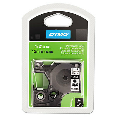 "Dymo 1/2"" (12mm) Permanent Black on White Tape for Dymo 4500 D1 Labels"