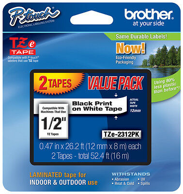 """2-Pack Brother 1/2"""" Black on White P-touch Tape for PT2030AD, PT-2030VP Printers"""
