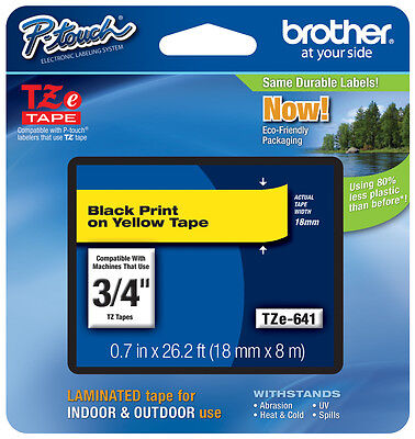 "Brother 3/4"" (18mm) Black on Yellow P-touch Tape for PT3600, PT-3600 Label Maker"