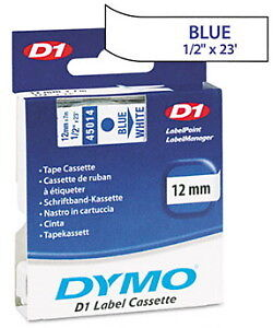 "Dymo 1/2"" (12mm) Blue on White Label Tape for Dymo 4500 D1 Labels"