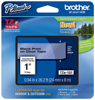 """Brother 1"""" (24mm) Black on Clear P-touch Tape for PTD600, PT-D600 Label Maker"""
