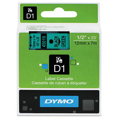 "Dymo 1/2"" (12mm) Black on Green Label Tape for Dymo 4500 D1 Labels"