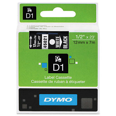 "Dymo 1/2"" (12mm) White on Black Label Tape for LabelManager 210D LM210D, LM 210D"
