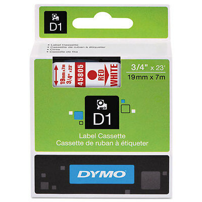 Dymo 45805 D1 Label Printer Tape 3/4 Red on White LabelManager LM 18mm, 18 mm