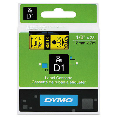 "Dymo 1/2"" (12mm) Black on Yellow Label Tape LabelManager 210D LM210D, LM 210D"