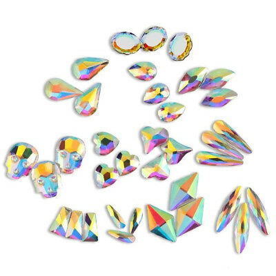 10/50X 3D Glitter Nail Art Rhinestones Colorful Stones Flat Back Bottom Manicure