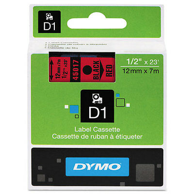 "Dymo 1/2"" (12mm) Black on Red Label Tape for LabelManager 210D LM210D, LM 210D"