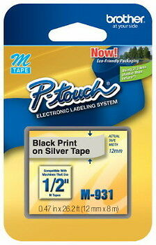 """1/2"""" (12mm) Black on Silver P-touch M Tape for Brother PT-110, PT110 Label Maker"""
