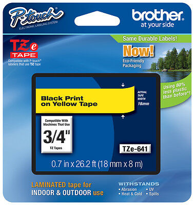 "Brother 3/4"" (18mm) Black on Yellow P-touch Tape for PT1300, PT-1300 Label Maker"
