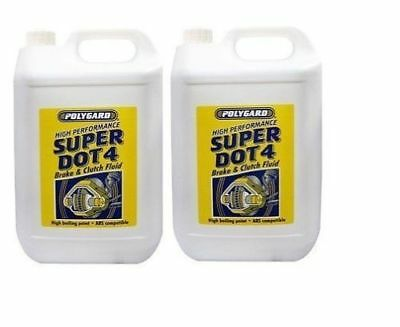 2 x POLYGARD PREMIUM SYNTHETIC SUPER BRAKE & CLUTCH FLUID Dot 4 5L FREE NEXT DAY