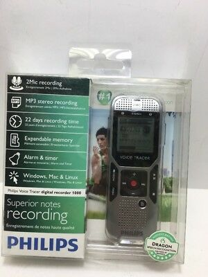 Philips DVT1000 2 GB Digital Voice Recorder Tracer 2 Built-In Microphones New