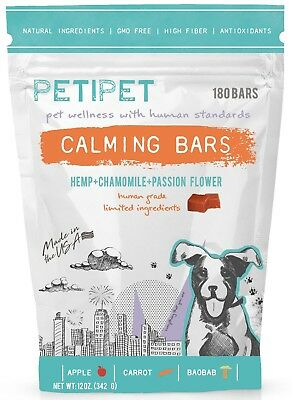 Dog Calming Bars All Natural Pet Treats - Anti Stress & Anxiety Relief 180 Bites