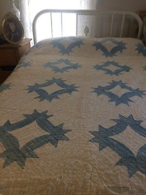 Antique Quilt Blue And White - Hand Stitched - Fragile - Beautiful Display Item