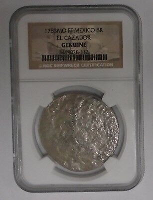 """1783 MO FF MEXIXO 8 REALES from EL CAZADOR SHIPWRECK GRADED """"GENUINE"""" by NGC"""