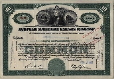1962 Norfolk Southern Railway Company Stock Certificate Virginia