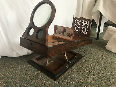 Antique 19th Century Burl & Exotic Wood RARE Graphoscope Stereoviewer Dated 1875