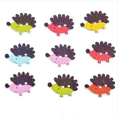 10pcs Hedgehog Wooden Buttons - embellishments for cardmaking,crafts,sewing