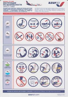 Azur Air Safety Card Boeing 737-800 valid from 01.12.2016
