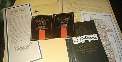 JACK DANIELS OLD No 7 TRIBUTE TO TENNESSEE WHISKEY BOTTLE TAG LETTER BOOK LOT