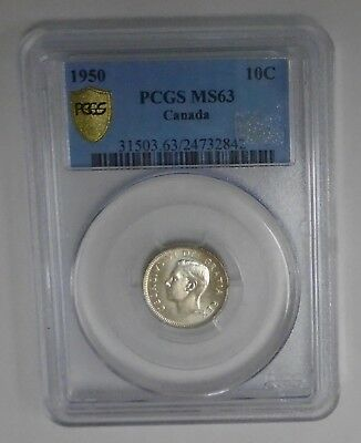 1950 10 Cents Canada Pcgs Ms 63