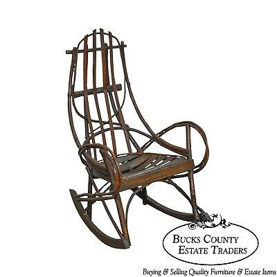 Antique Bentwood Hickory & Oak Twig Rocker (A)