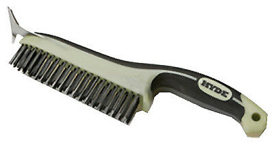 Hyde Tools 46834 Wire Brush With Scraper Blade, Ergonomic, 6 x 1 x 12-1/2-In. -