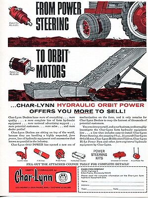 1968 Dealer Print Ad of Char-Lynn Hydraulic Tractor Power Steering & Orbit Motor
