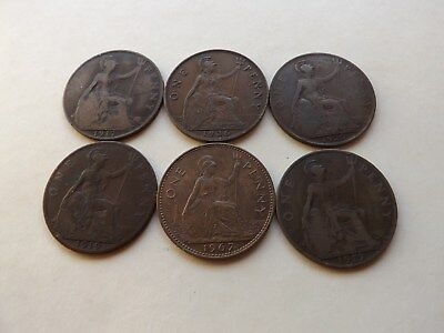 UK - England - Great Britain Penny Mix Lot Of 6 Coins LOT-81-LL