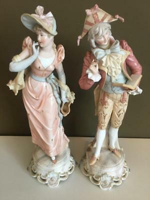 Fine Antique Pair Of Meissen / Dresden White Porcelain Figuines. C1880.