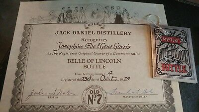 Jack Daniels Belle Of Lincoln Neck Tag Booklet. And Certificate Bottling No. 4